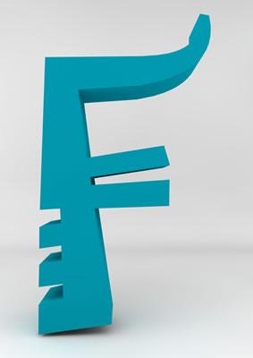 lettre 3D homme joker turquoise - F - images libres de droit