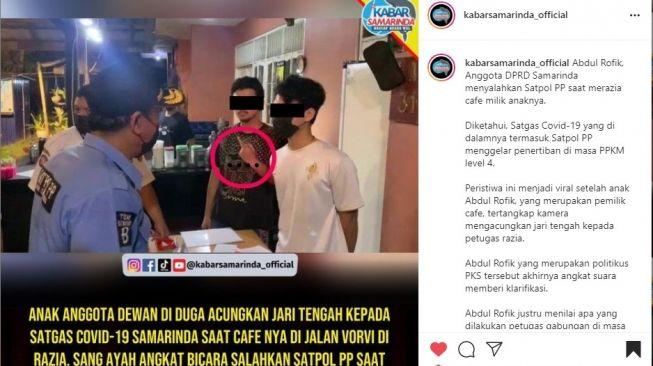 Anak Anggota Dewan Samarinda Acungkan Jari Tengah ke Satpol PP Saat Sosialisasi PPKM