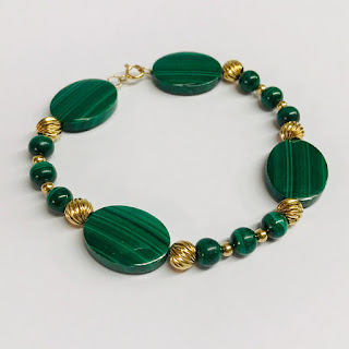 14K Gold and Malachite Bracelet