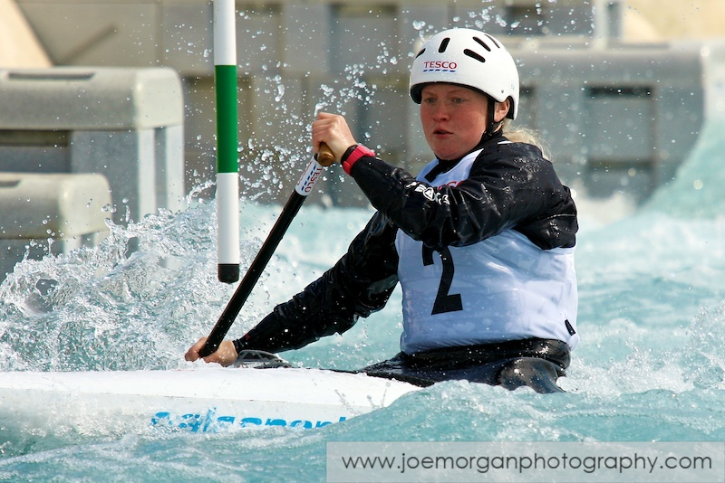 Photo: Alice Spencer of Holme Pierrepont CC in the Women's Canoe singles class during the Olympic Qualifier event at the Lee Valley water centre