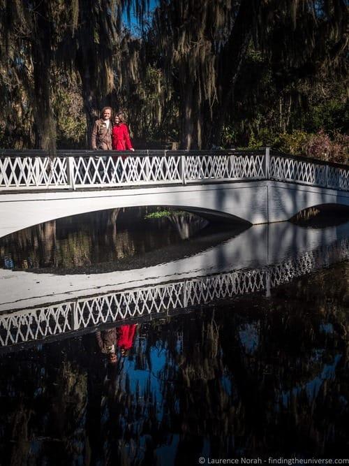 Laurence and Jess on bridge Magnolia Plantation Charleston
