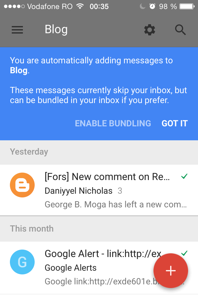 Inbox by Gmail user label view