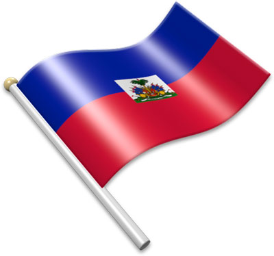 The Haitian flag on a flagpole clipart image