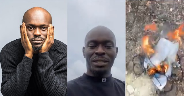 I Have Stop Smoking For Life – Mr. Jollof Says As He Burns Every Wrap of Igbo he have at Hand [Video]