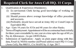 Awes Cell HQ 11 Corps Advertisement 2017 www.indgovtjobs.in