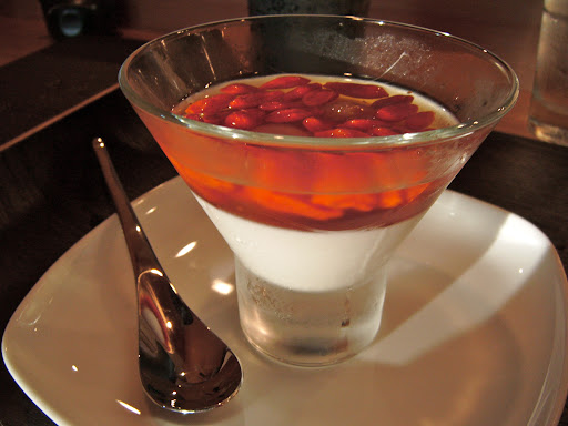 Tamura: almond custard in palm sugar syrup with gojis and longans