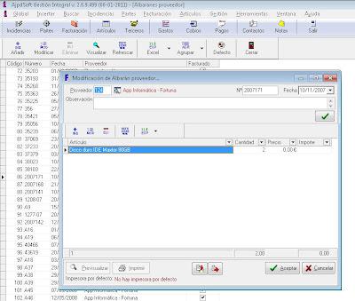Albaranes de proveedores - AjpdSoft Gestión Integral
