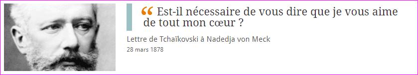 Lettre de Tchaïkovski à Nadedja von Meck