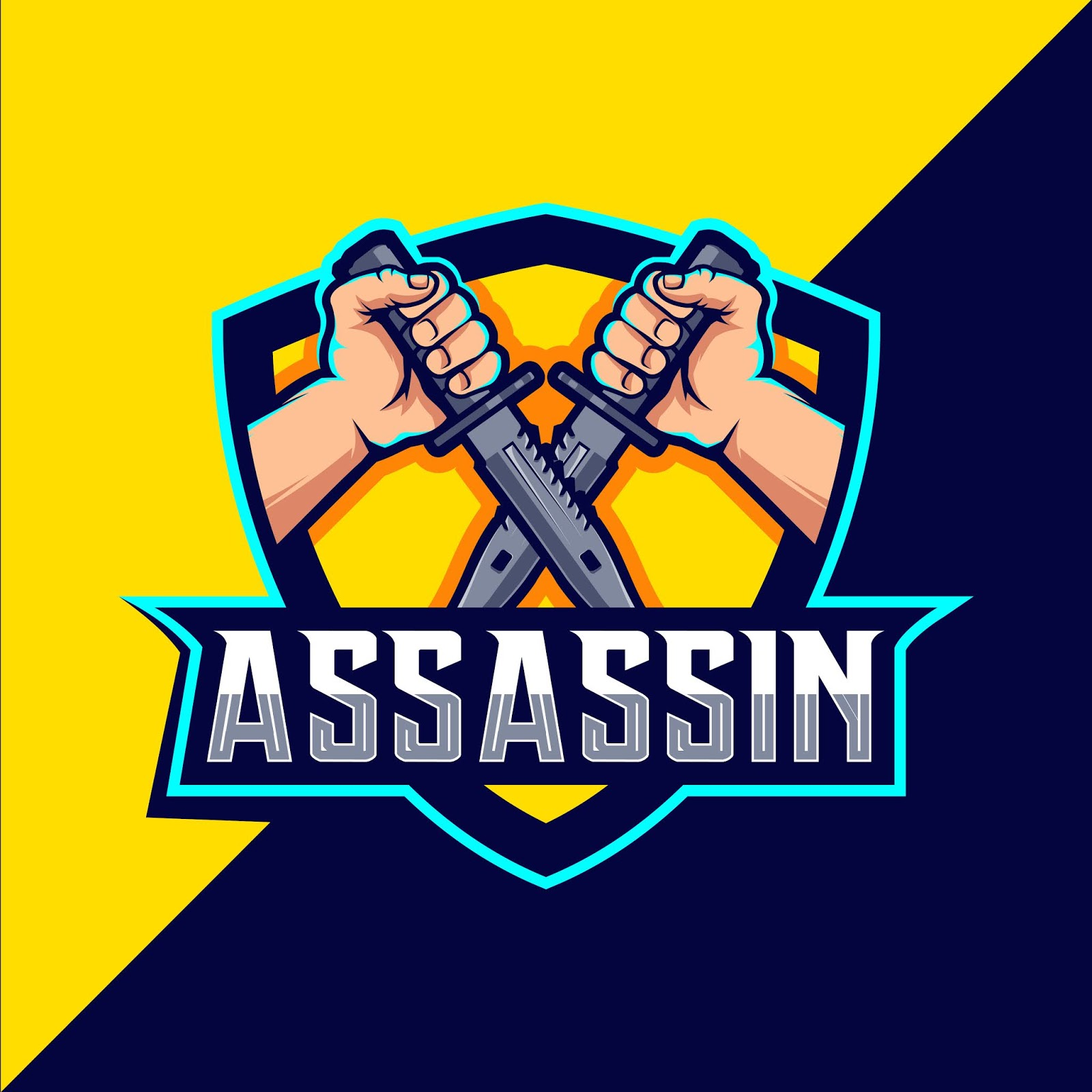 Assassin With Knife Mascot Esport Logo Design Free Download Vector CDR, AI, EPS and PNG Formats