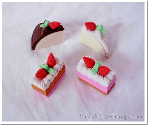 Erasers shaped like cake.  Could work for dolls.