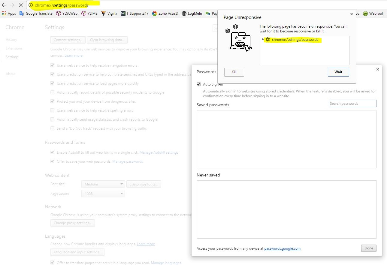 chrome://settings/passwords has been frozen  - Google Product Forums