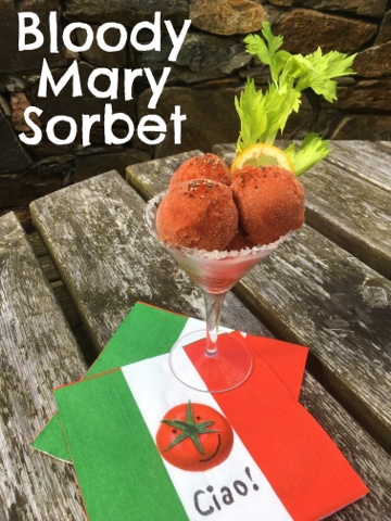 www.foodiequine.co.uk Tomato Gelato aka Bloody Mary Sorbet. A refreshing summer cocktail sorbet.