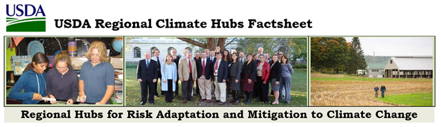 "Title from the ""USDA Regional Climate Hubs Factsheet"". Graphic: USDA"