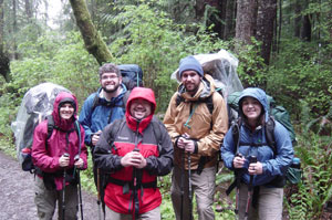 Photo of us at the start of the trail at Cape Alava. Photo taken on April 27, 2007 and courtesy of Kelli Larsen.