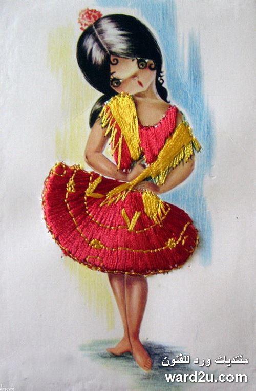 تابلوهات رسم اطفال مع اضافة خيوط واقمشة