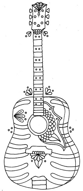 Free Printable Coloring Pages For Summer  Guitars
