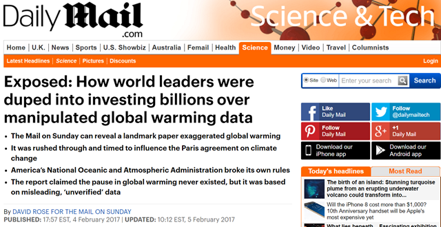Screenshot of the misleading Daily Mail story of 4 February 2017 that claims, without any factual basis, that NOAA manipulated climate data to emphasize that there was never a pause in the global warming trend. Graphic: Daily Mail