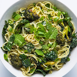 Cold Sesame Noodles with Broccoli and Kale.
