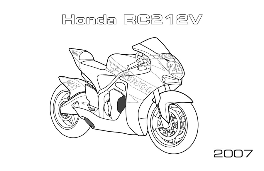 Motorcycle Coloring Pages For Kids. Free Printable | 582x900