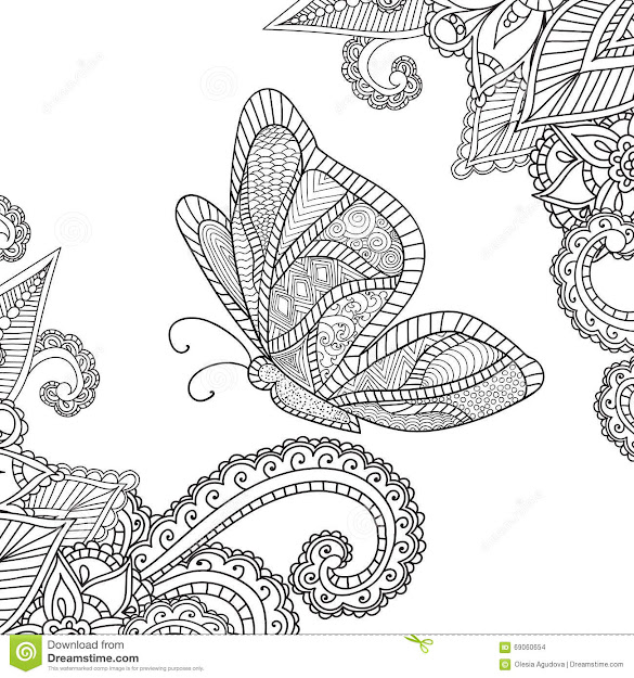 Coloring Pages For Adultshenna Mehndi Doodles Abstract Floral Elements  With Butterfly Stock