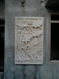 Relief batu alam lotus dan angsa