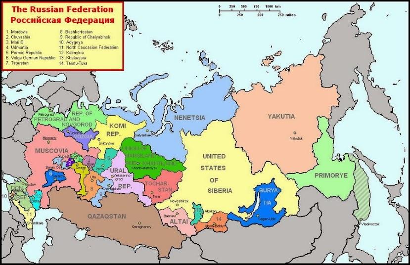 карта американской России