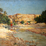 """Château de Nemours : exposition Ernest Marché, """"Femmes arabes au bord d'un oued"""", v. 1907 - Huile sur toile, 38x55 cm, CMN inv. 16, Fonds Ernest Marché"""