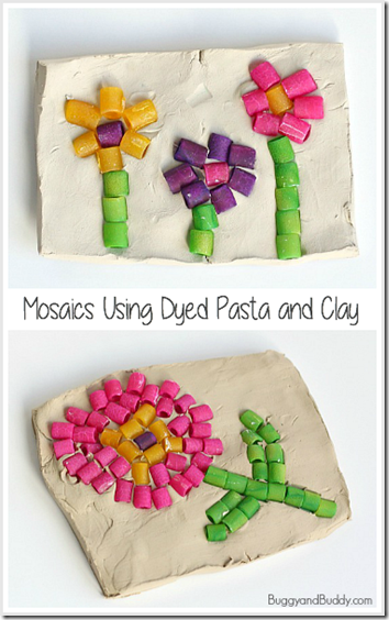 Pasta Mosaic Kids Activities - This is such a fun, clever activity for kids of all ages. Makes a great keepsake or mothers day gift!