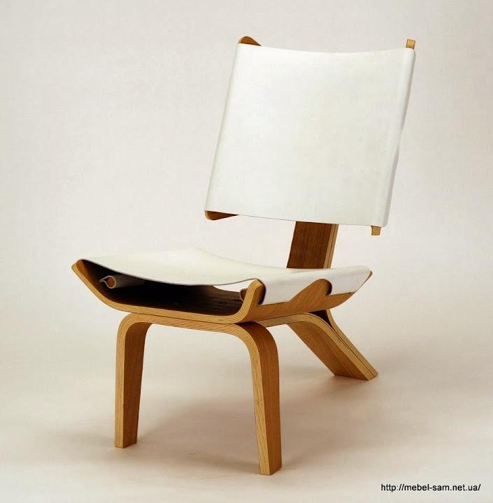 Кресло из изогнутой фанеры с натяжным кожаным сиденьем