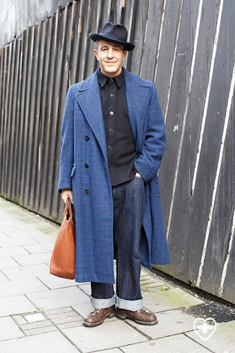 Christos Tolera; artist; Lock & Co. hat; vintage 40's coat; Edwin jeans; Ralph Lauren bag;