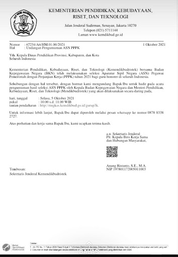 Undangan Pengumuman ASN PPPK Tahun 2021