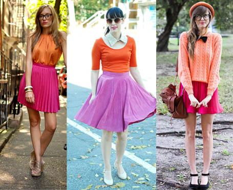 Como usar saia cor de rosa com parte de cima laranja (color block)