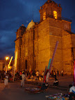 Cathedral and festival at night (Oaxaca)
