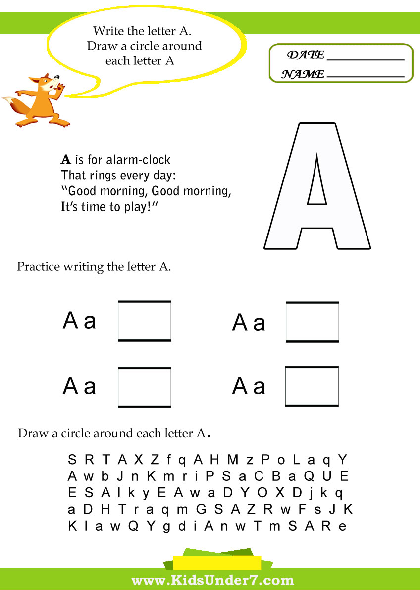 worksheet The Letter A Worksheets kids under 7 letter a worksheets
