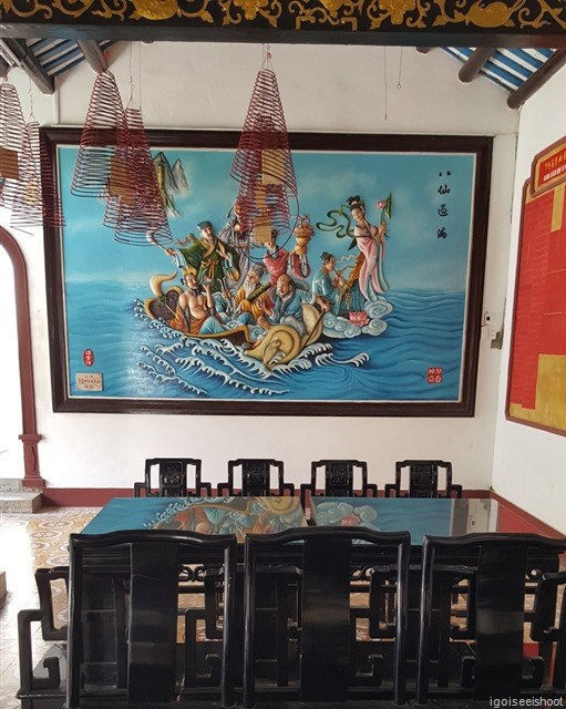 """Painting of the """"The Eight Immortals Cross the Sea"""" – a Chinese myth and legend. Quang Trieu (Canton) Assembly Hall in Hoi An ancient town"""