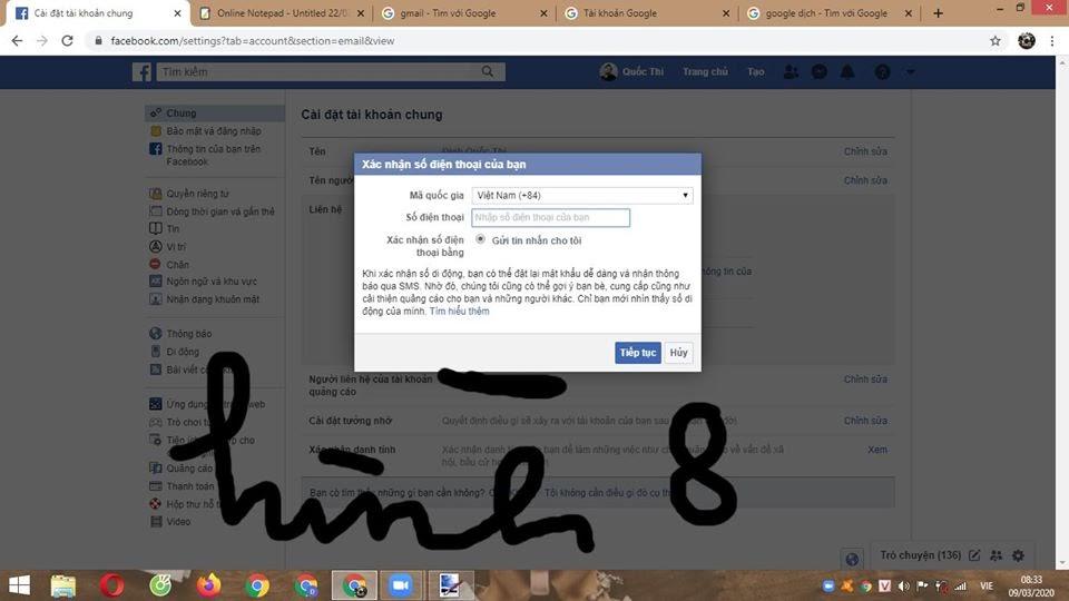 Xác nhận số điện thoại Facebook