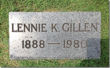 GILLEN_Lennie_1888-1980_headstone_RomeProctorville_OH