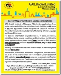 GAIL India Career 2017 Advertisement www.indgovtjobs.in