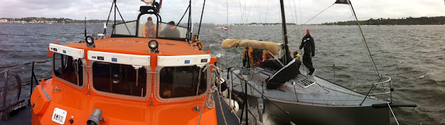 Friday 13 July wasn't so lucky for a 6m yacht when it lost its rudder. Poole all-weather lifeboat has it in an alongside tow bringing it back into Poole Harbour. Photo: RNLI Poole/Dave Riley