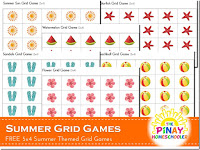 Summer Themed (5 x 4) Grid Number Games