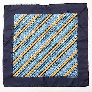 Hermès Blue Stripped Handkerchief Scarf