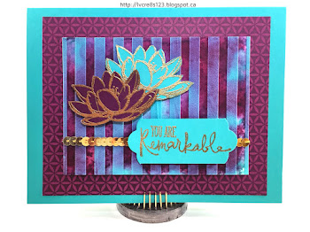 Linda Vich Creates: Remarkable You and a Mixed Media Technique. Molding Paste mixed with Bermuda Bay reinker creates lovely, dimensional stripes over a watercolored background provides a stunning backdrop for embossed flowers from Remarkable You.