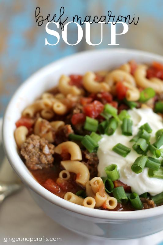 Beef Macaroni Soup Recipe at GingerSnapCrafts.com #recipe #dinner