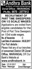 Andhra Bank Warangal Jobs 2017 www.indgovtjobs.in
