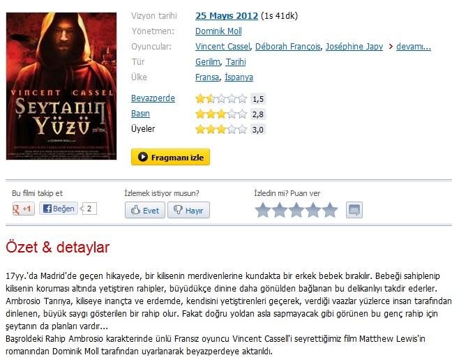 Şeytanın Yüzü - 2011 DVDRip XviD - Türkçe Dublaj Tek Link indir