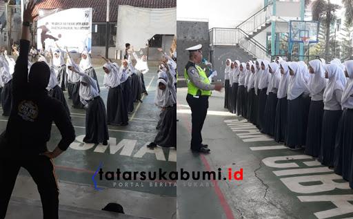 Senam Kolosal SMAN 1 Cibadak Sukseskan Program MRSF Polres Sukabumi