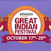 (Last Day) Amazon Great Indian Festival Sale - Get 90% Off + 15% Cashback (17th - 20th October)
