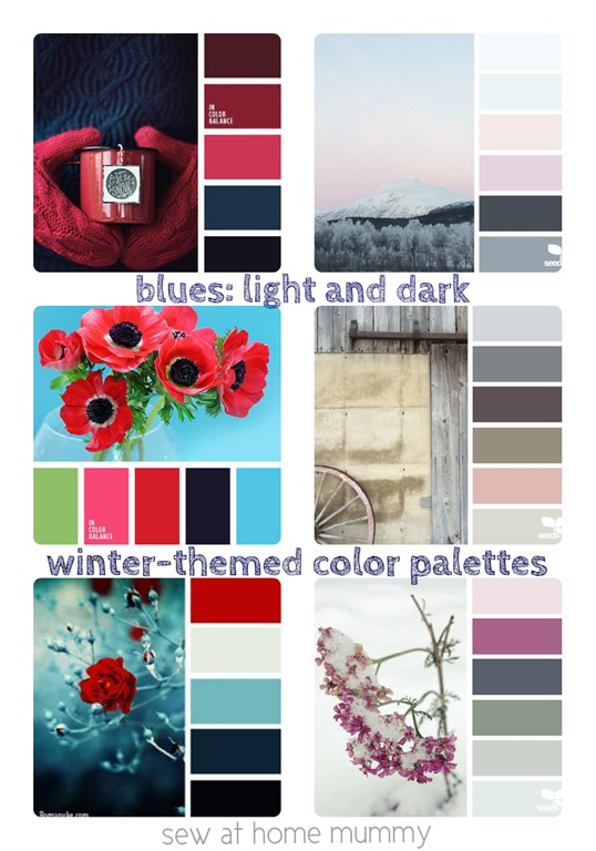 color palettes blues navy blue winter themed collage by Sew at Home Mummy