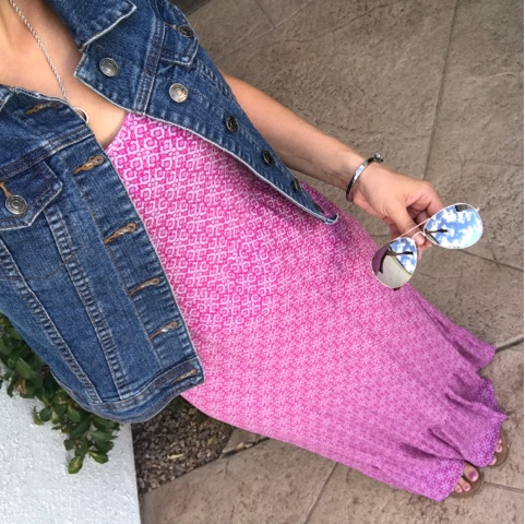 Thritty Wife, Happy Life- Daily outfits.  Pink maxi dress with denim vest