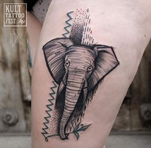 Este estilizado esboço estilo de elefante